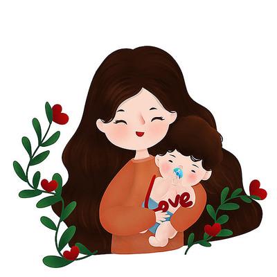 原创母亲节抱婴儿插画