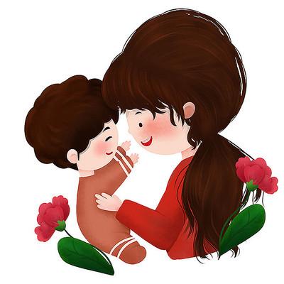原创母亲节妈妈抱婴儿插画
