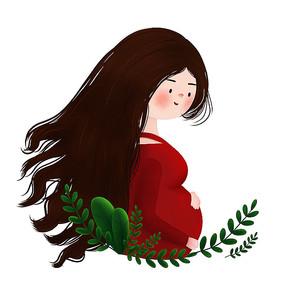 原创母亲节孕妇插画