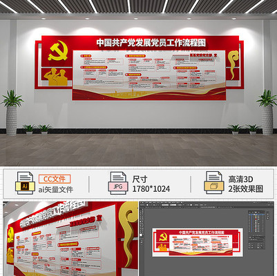 党员入党流程党建文化墙