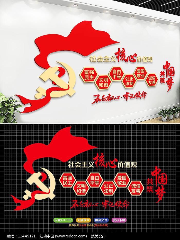 社会主义核心价值观党建文化墙AI图片