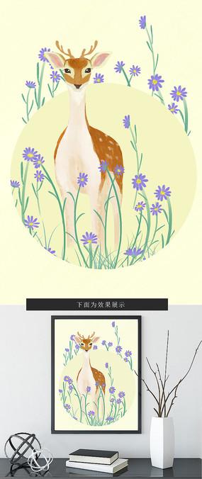 原创动物小鹿现代小清新餐厅装饰画