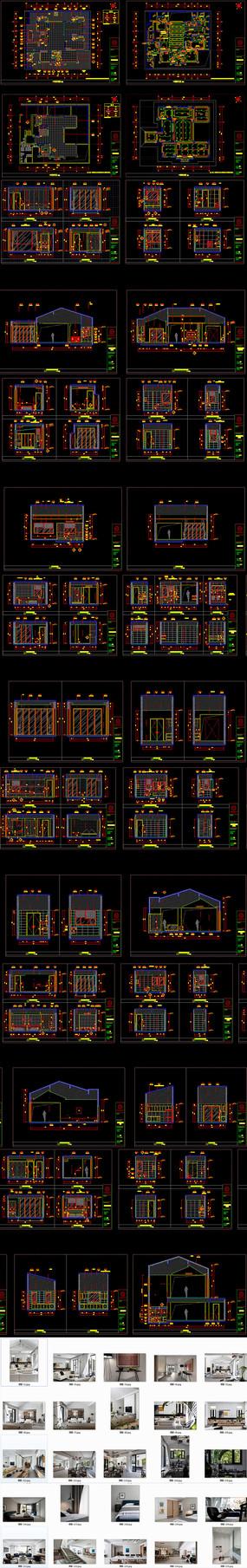 222 ㎡现代轻奢住宅装修施工图效果图模型