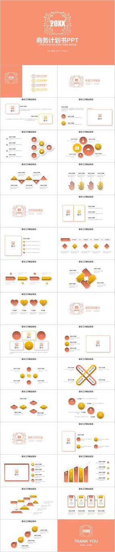 橙色极简小清新工作总结商业计划书ppt