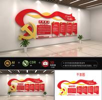 红色党员活动室党建文化墙