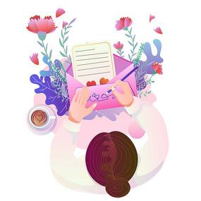 母亲节给妈妈的信手绘插画