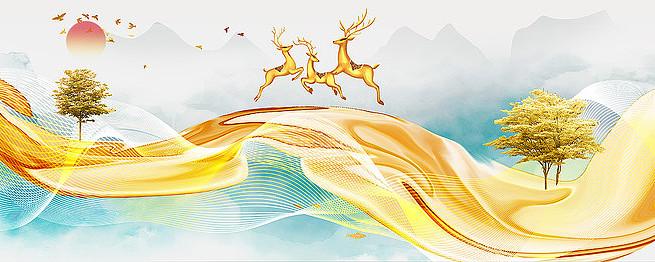 新中式麋鹿装饰画