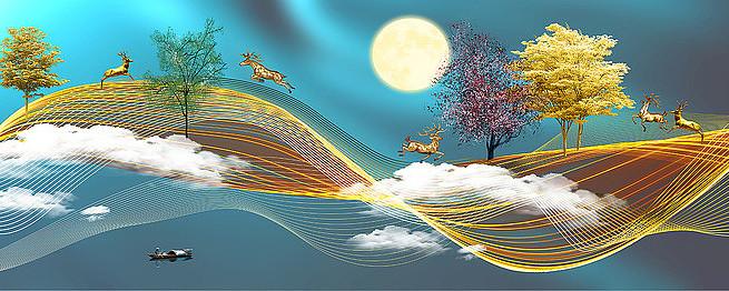 新中式山水画装饰画