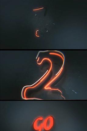 霓虹灯蔓延亮起三秒倒计时素材