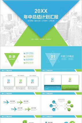 蓝绿色商务年中总结计划汇报述职报告PPT
