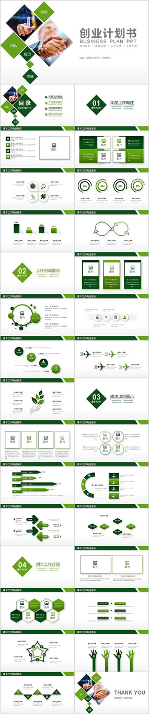 绿色商务极简通用融资商业计划书PPT