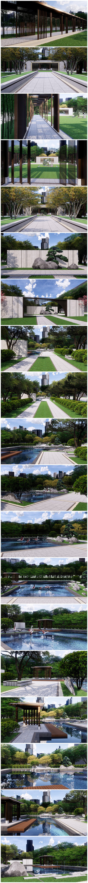 新中式庭院厂区景观