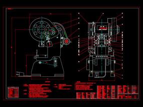 冲床总图CAD机械图纸