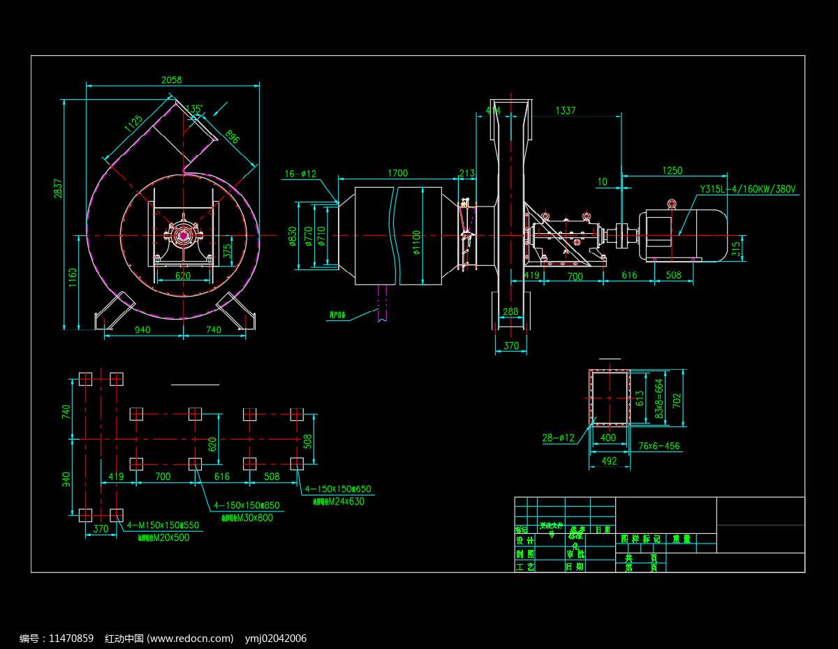 二次风机CAD机械安装总图图片