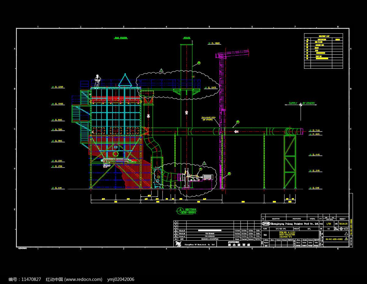 风量布袋除尘器CAD机械图片