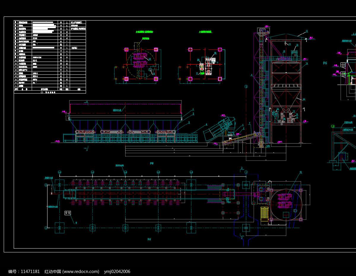 干排渣系统设备平立面布置图机械CAD图纸图片