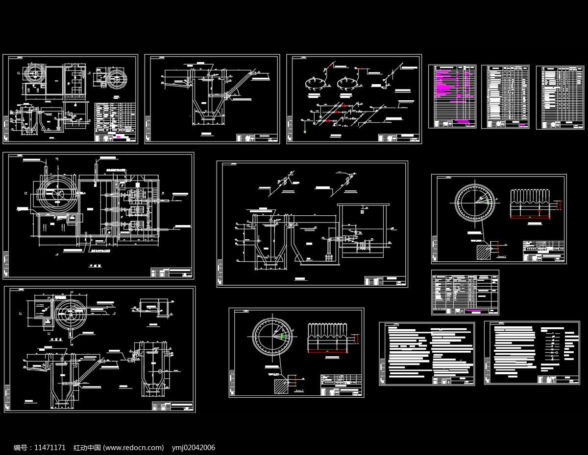 高炉渣粒化工程设施布置图CAD机械图纸图片