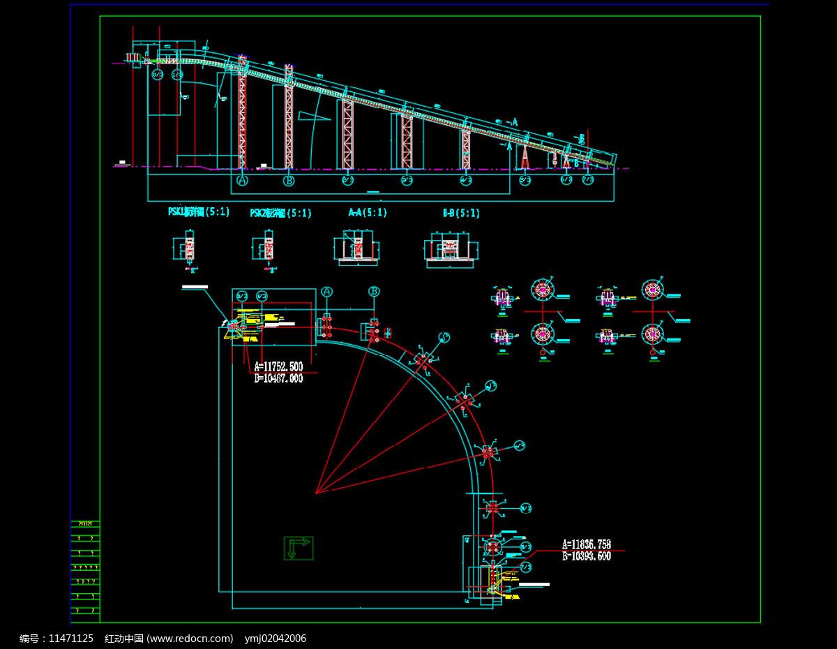 管带输送机CAD机械图纸图片