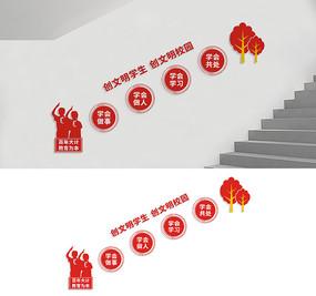 学校楼梯文化墙宣传设计