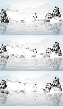 传统水墨中国风山水背景视频