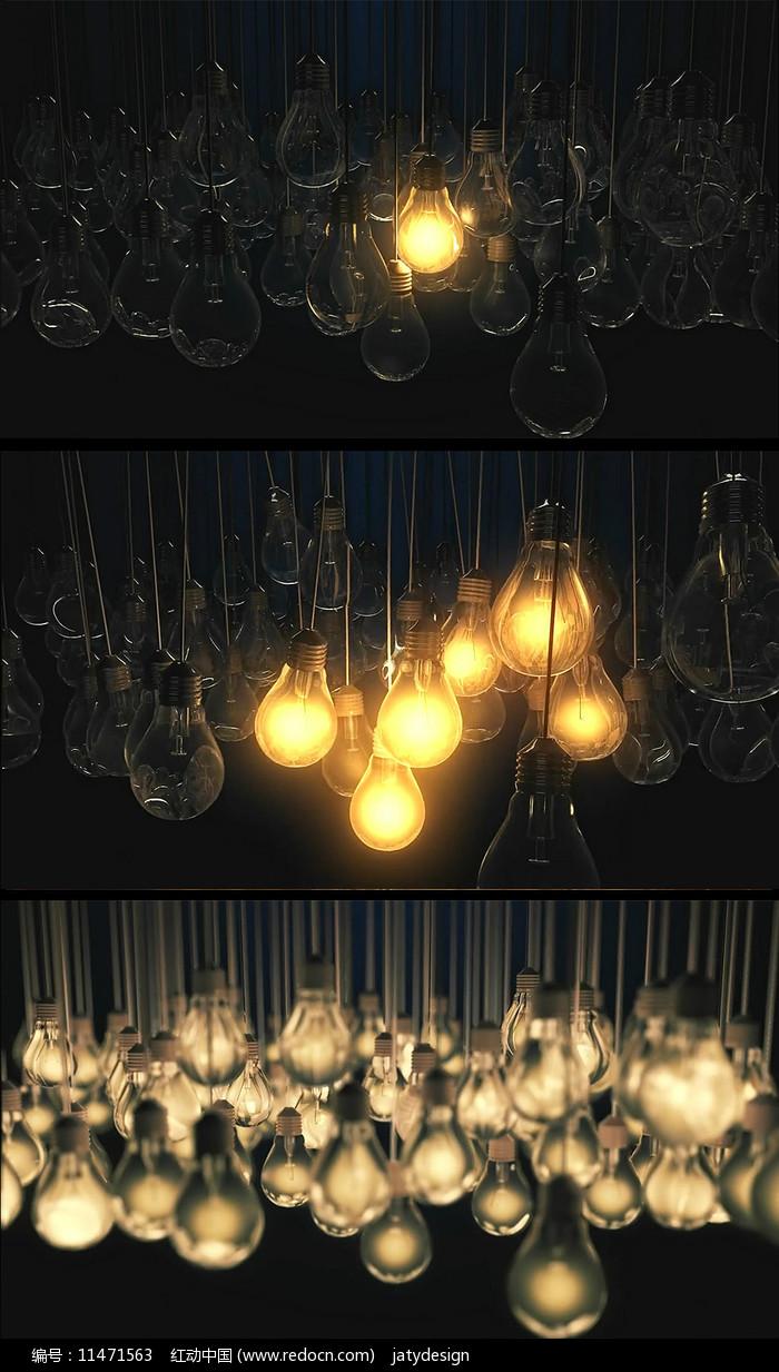 灯泡相撞亮起创意视频素材图片