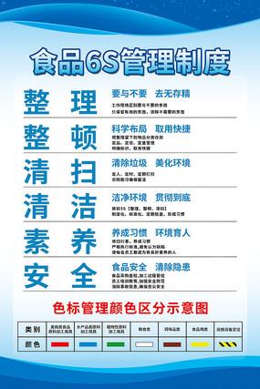 蓝色大气食品6S管理制度色标管理展板