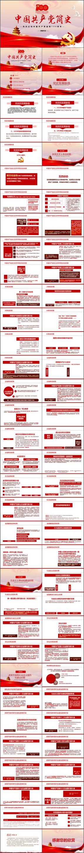 建党100周年中国共产党简史党史ppt
