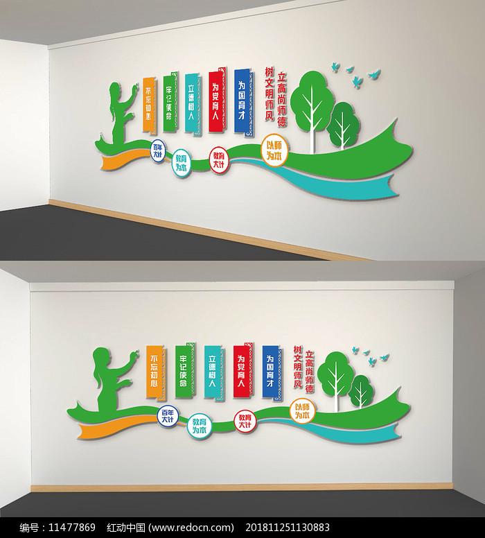 绿色教师师风师德校园文化墙图片