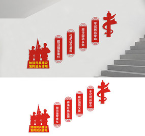 民兵楼梯文化墙标语