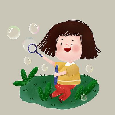 原创吹泡泡女孩儿童节元素