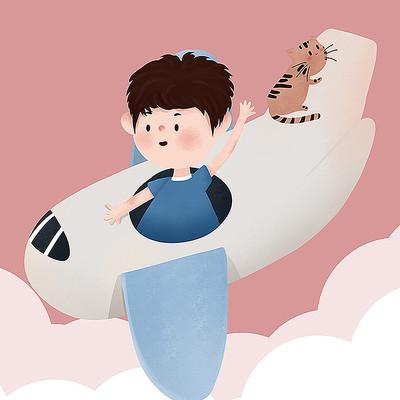 原创坐飞机儿童节元素