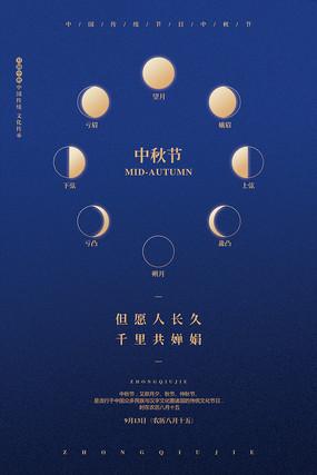中秋佳节月亮月饼海报