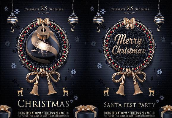 圣诞节黑金圣诞树海报