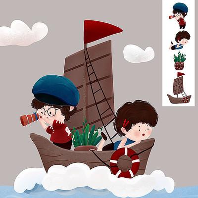 原创帆船小孩儿童节元素