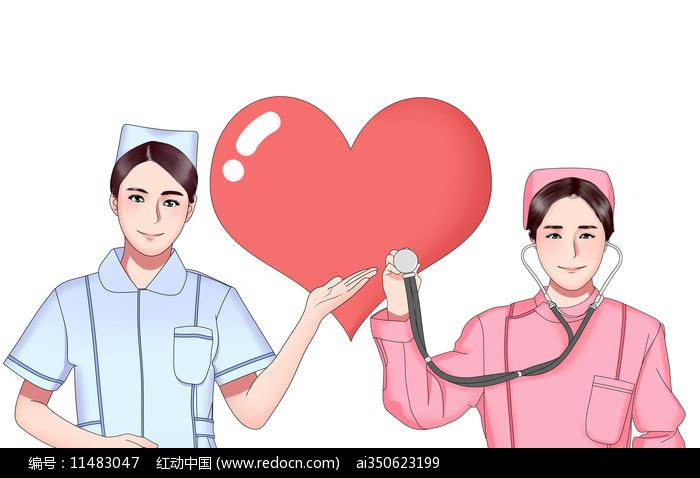 原创卡通护士节插画元素图片