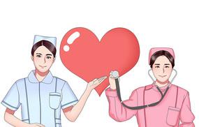 原创卡通护士节插画元素