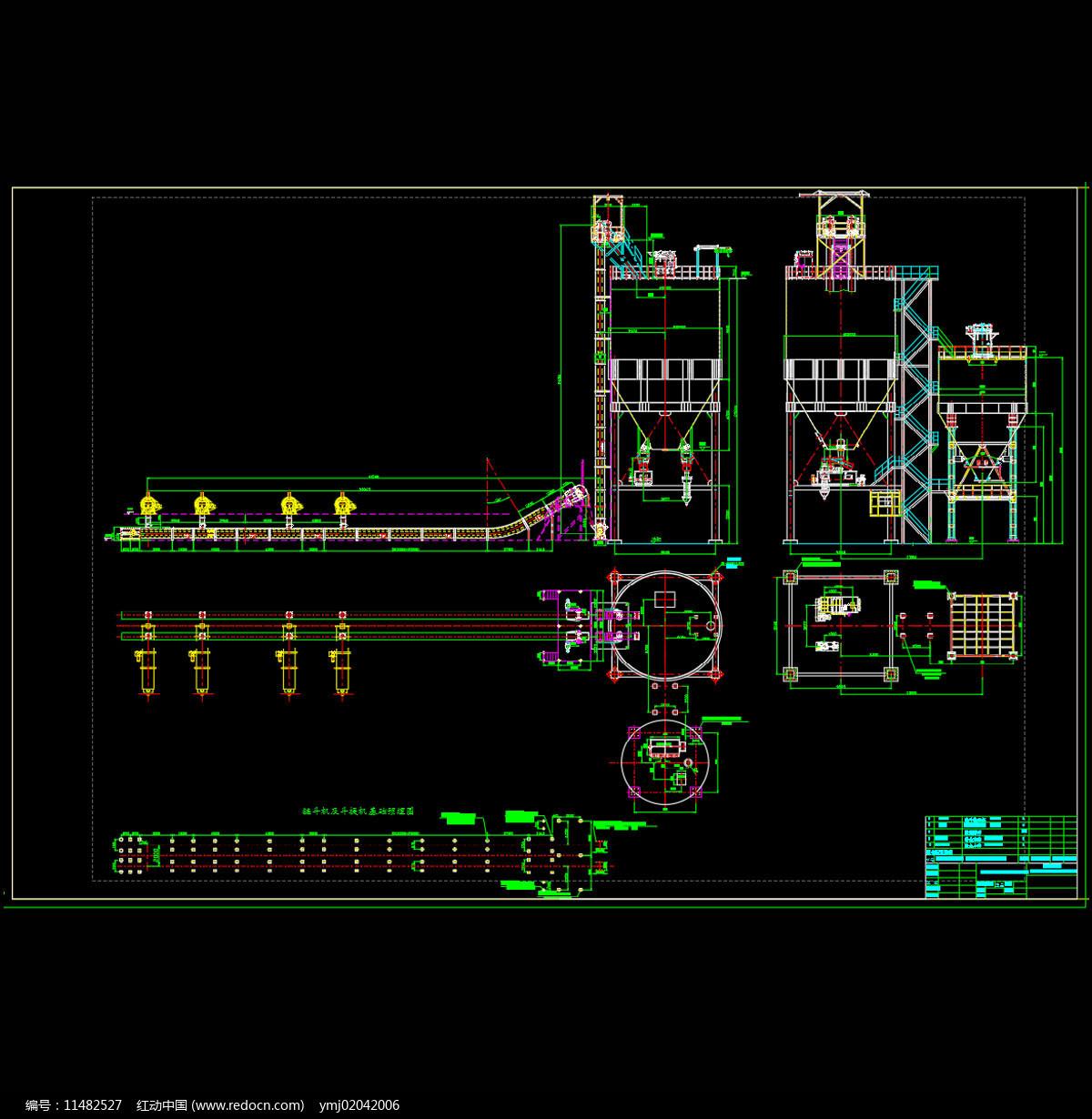 机械除渣设备布置系统详图CAD机械图纸图片
