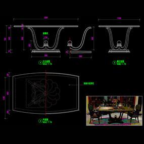 美式家具餐桌餐台CAD桌子图库