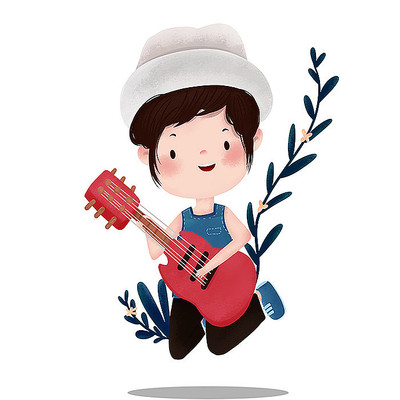 原创弹吉它女孩儿童节元素