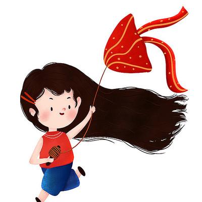 原创放风筝女孩儿童节元素