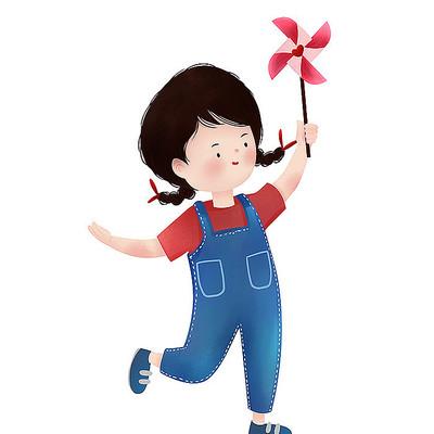原创风车小女孩儿童节元素