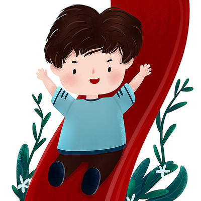 原创滑滑梯小孩儿童节元素