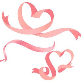 520情人粉色爱心彩带元素