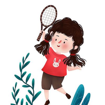 原创打羽毛球女孩儿童节元素