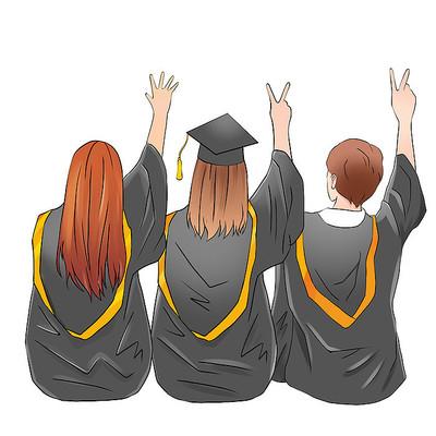 毕业季毕业生学士服元素