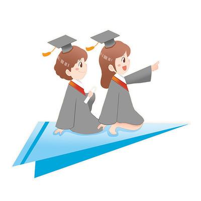 毕业季坐纸飞机的毕业生元素