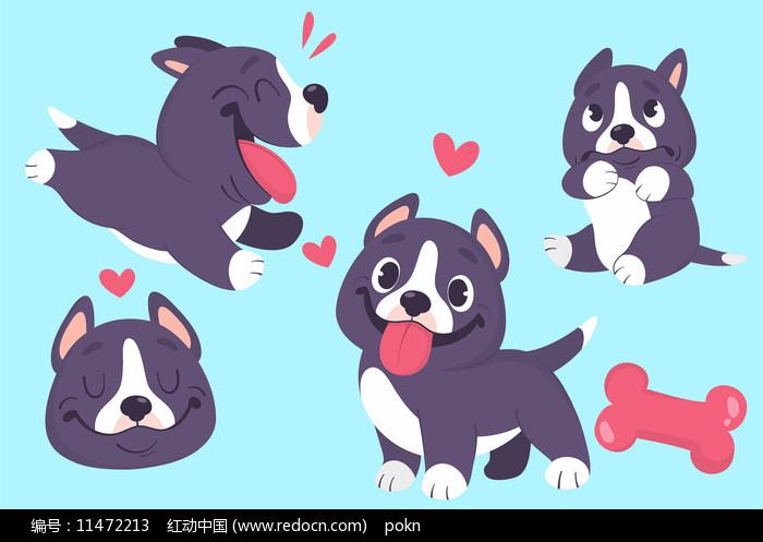 可爱原创卡通小狗手绘素材图片