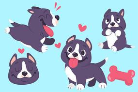 可爱原创卡通小狗手绘素材