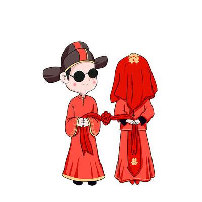 清新卡通素材平涂插画中式婚礼