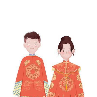 清新卡通素材平涂中式婚礼元素